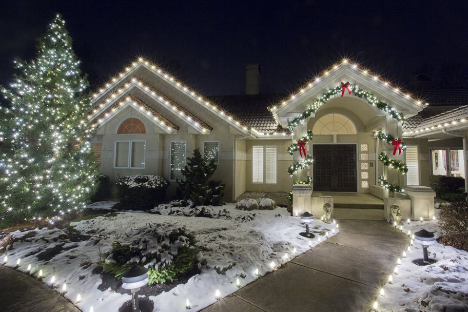 Winter White LED holiday lighting on Landscape, fascia and entryways